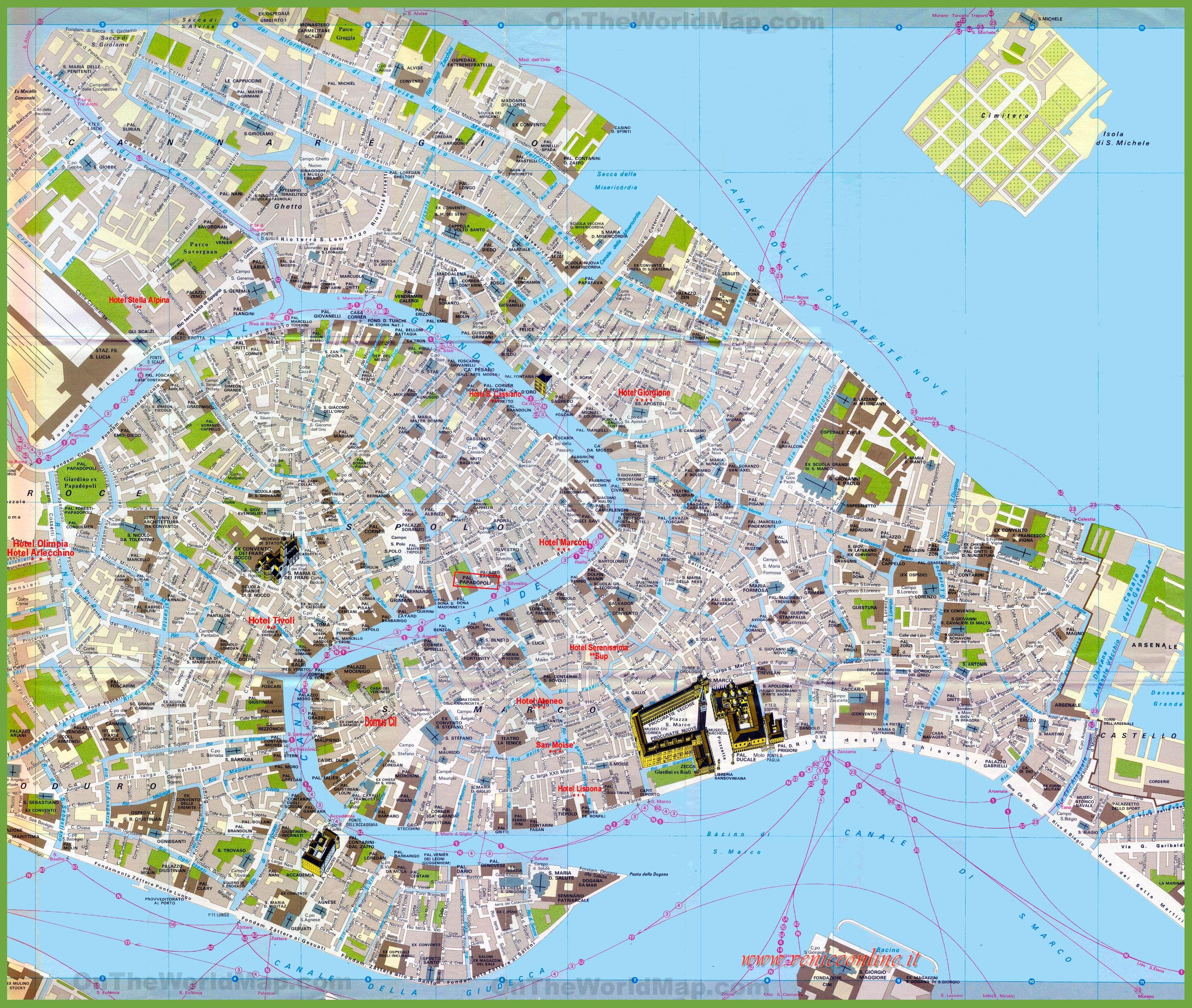 Cartina Turistica Di Venezia.Mappa Turistica Di Venezia Centro Citta