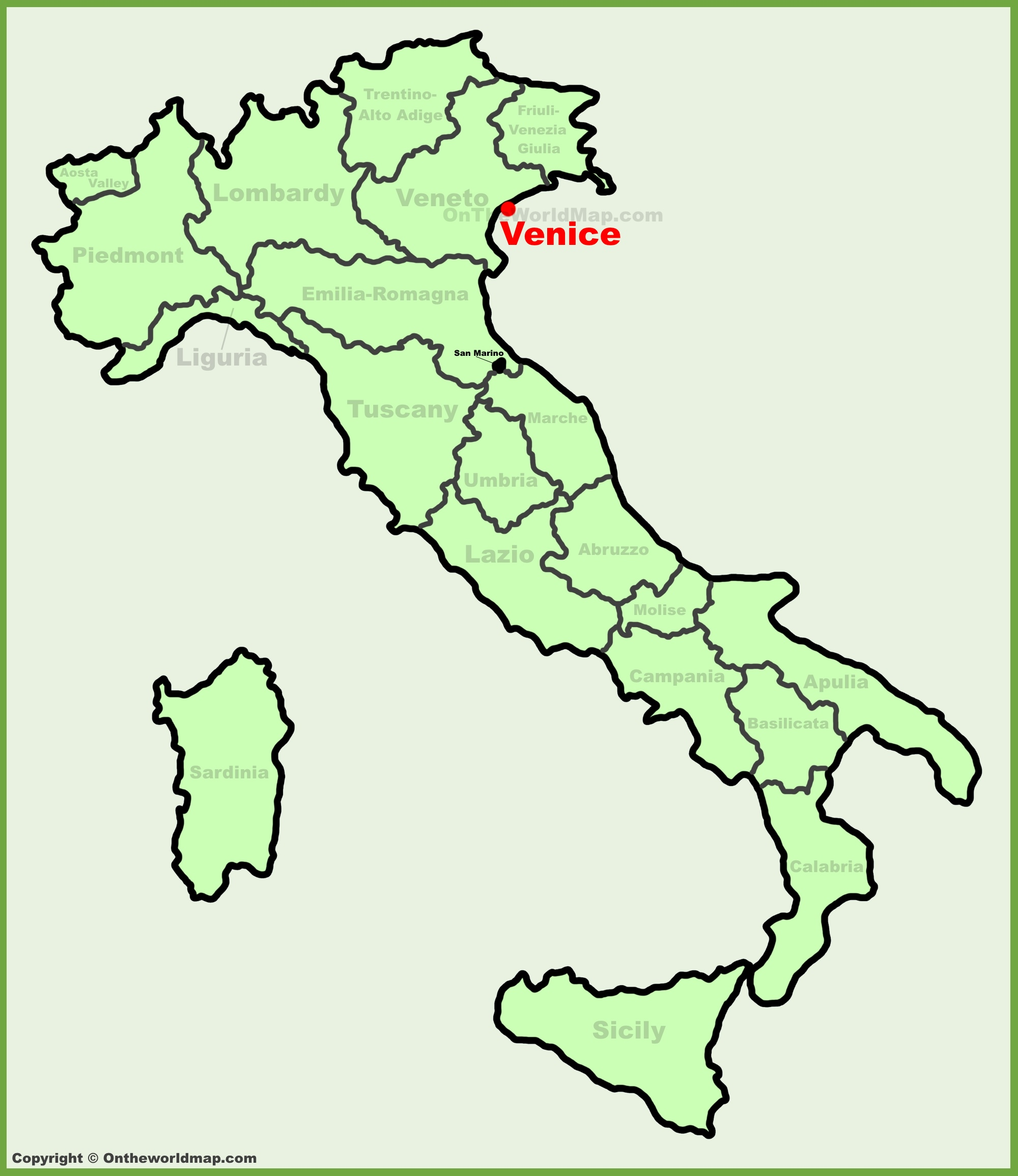 Map Of Venice Italy Venice location on the Italy map Map Of Venice Italy