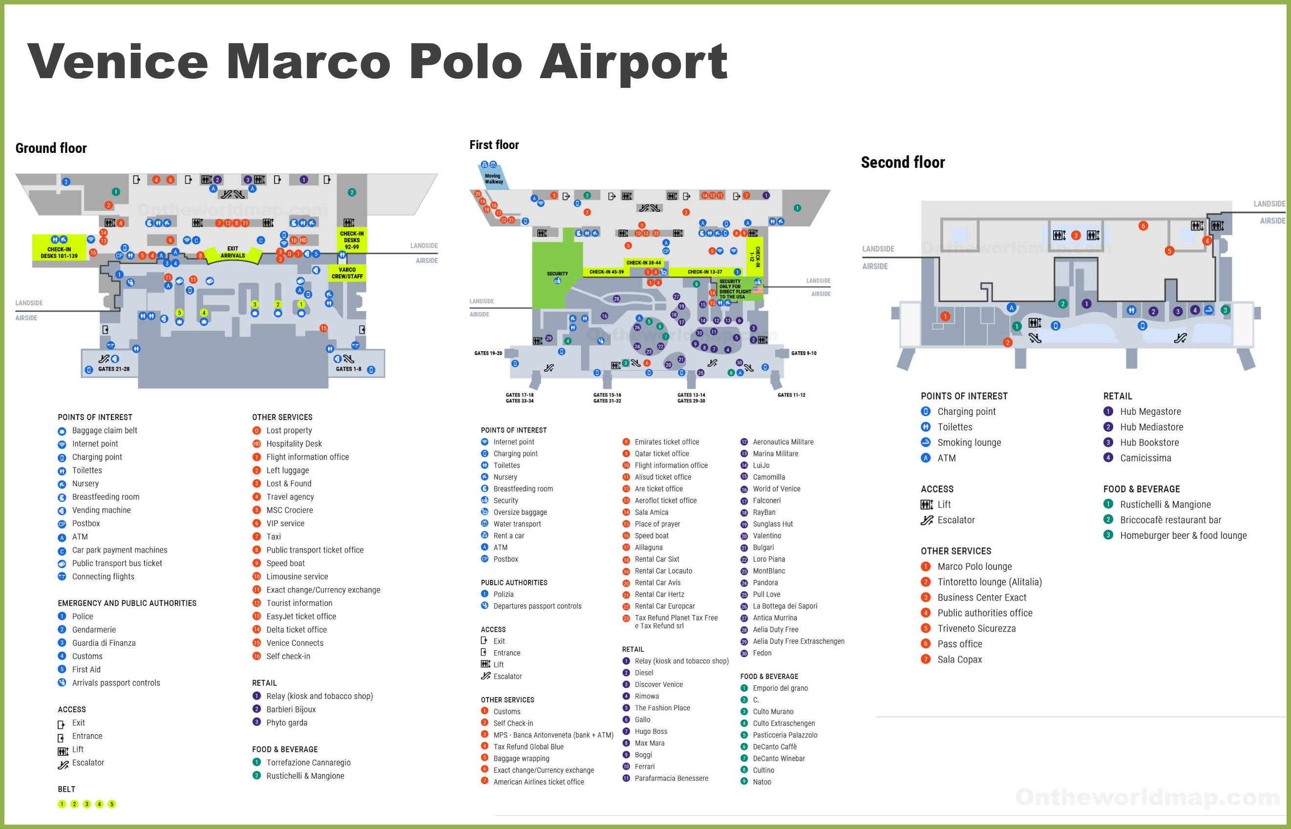 Venice Map Airport Venice Marco Polo Airport Map