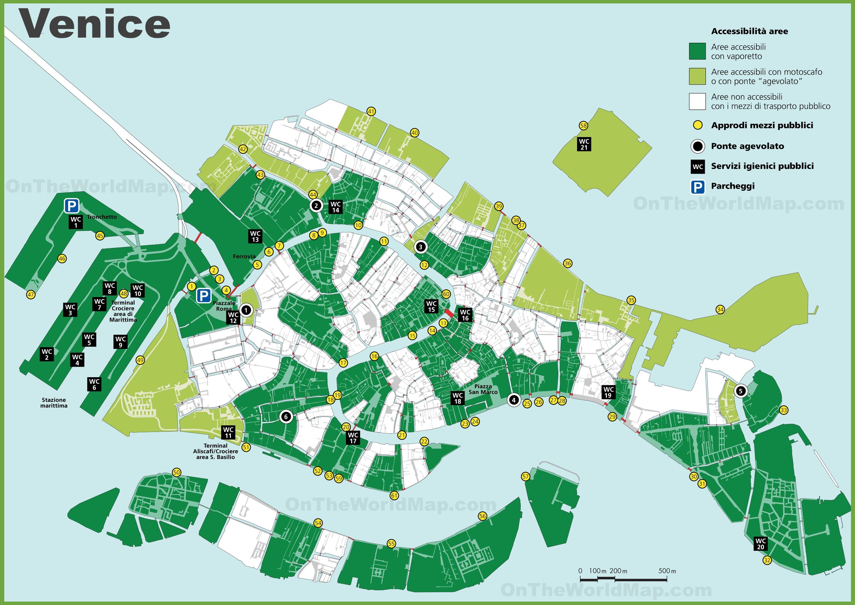 Venice Public Toilet Map - Venice city map