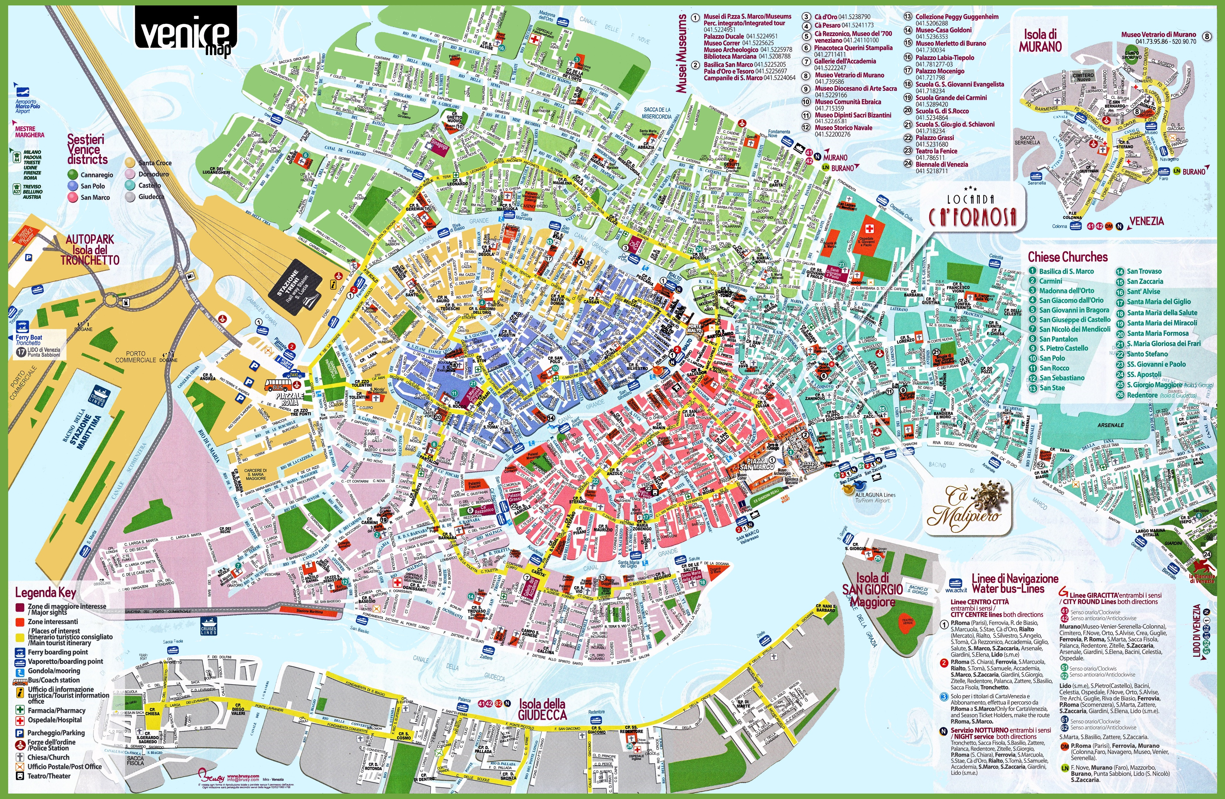 Venice Italy Map Venice tourist attractions map Venice Italy Map