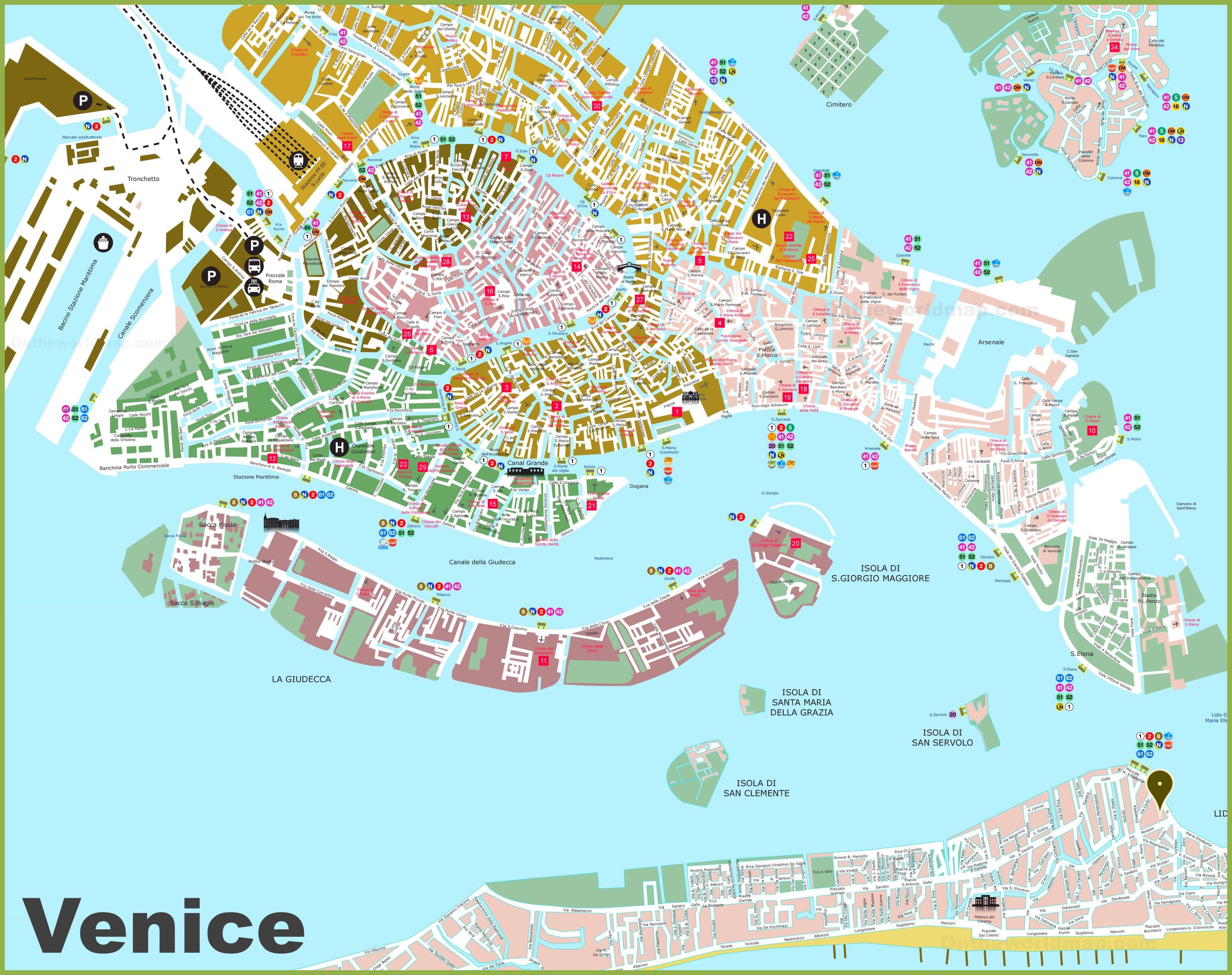 Cartina Turistica Di Venezia.Venezia Mappa Turistica
