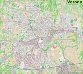 Large detailed map of Verona