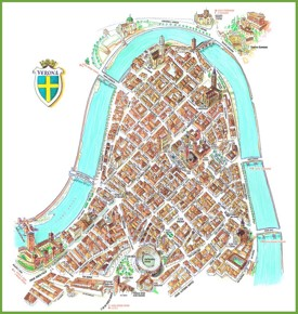 Tourist map of Verona city centre