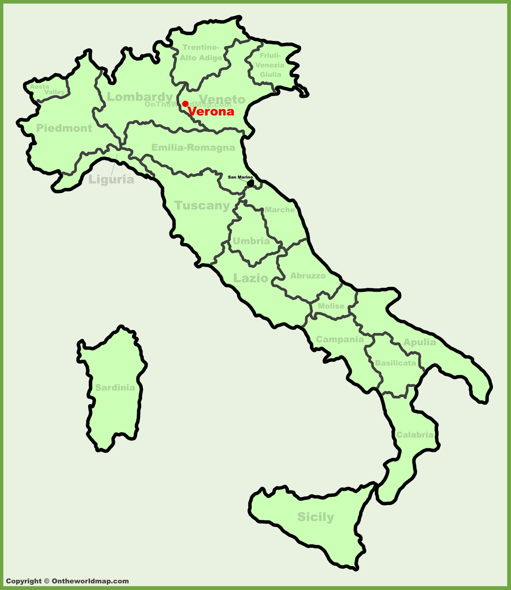 Verona location on the Italy map