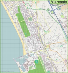 Large detailed map of Viareggio