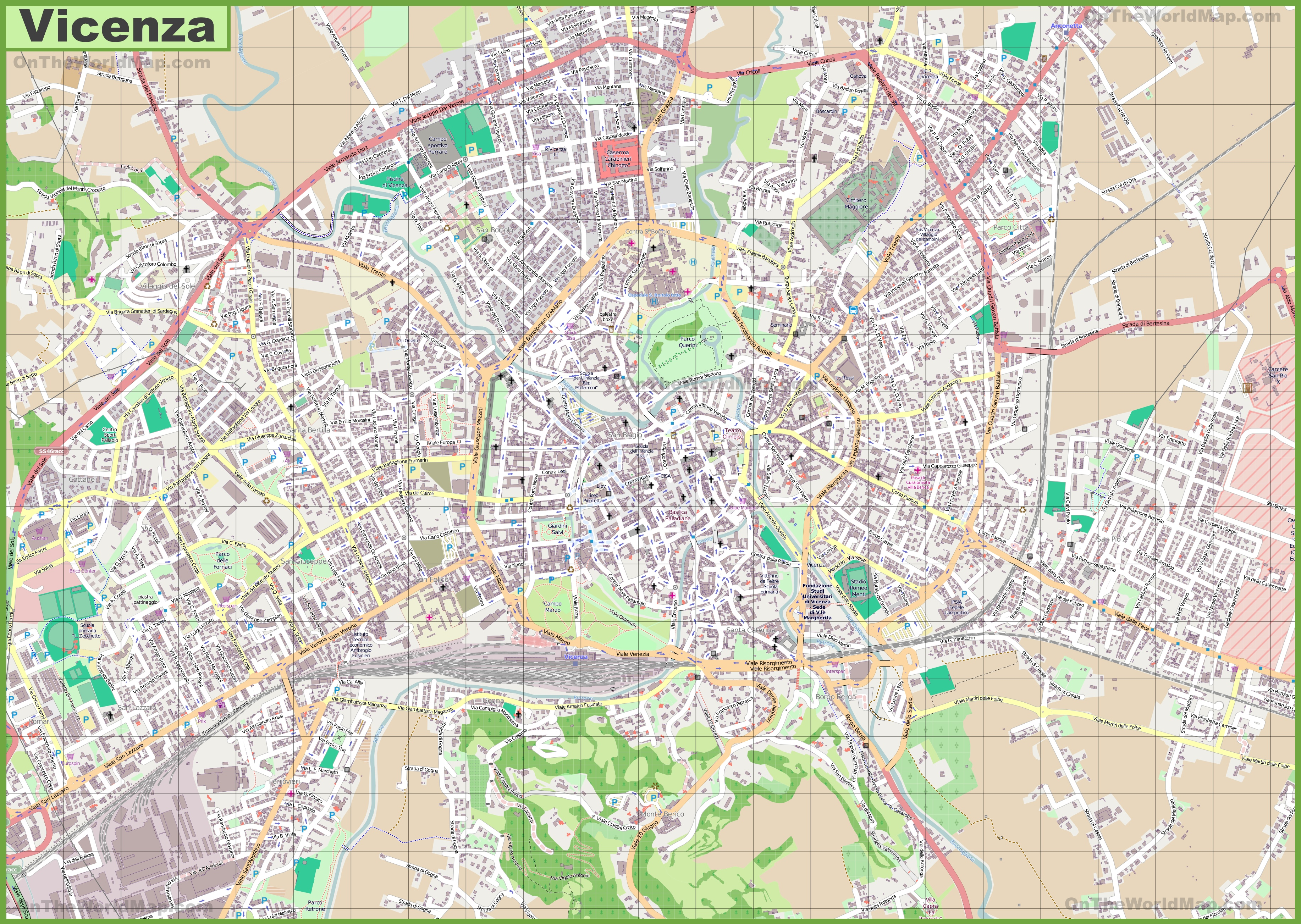 Large detailed map of Vicenza