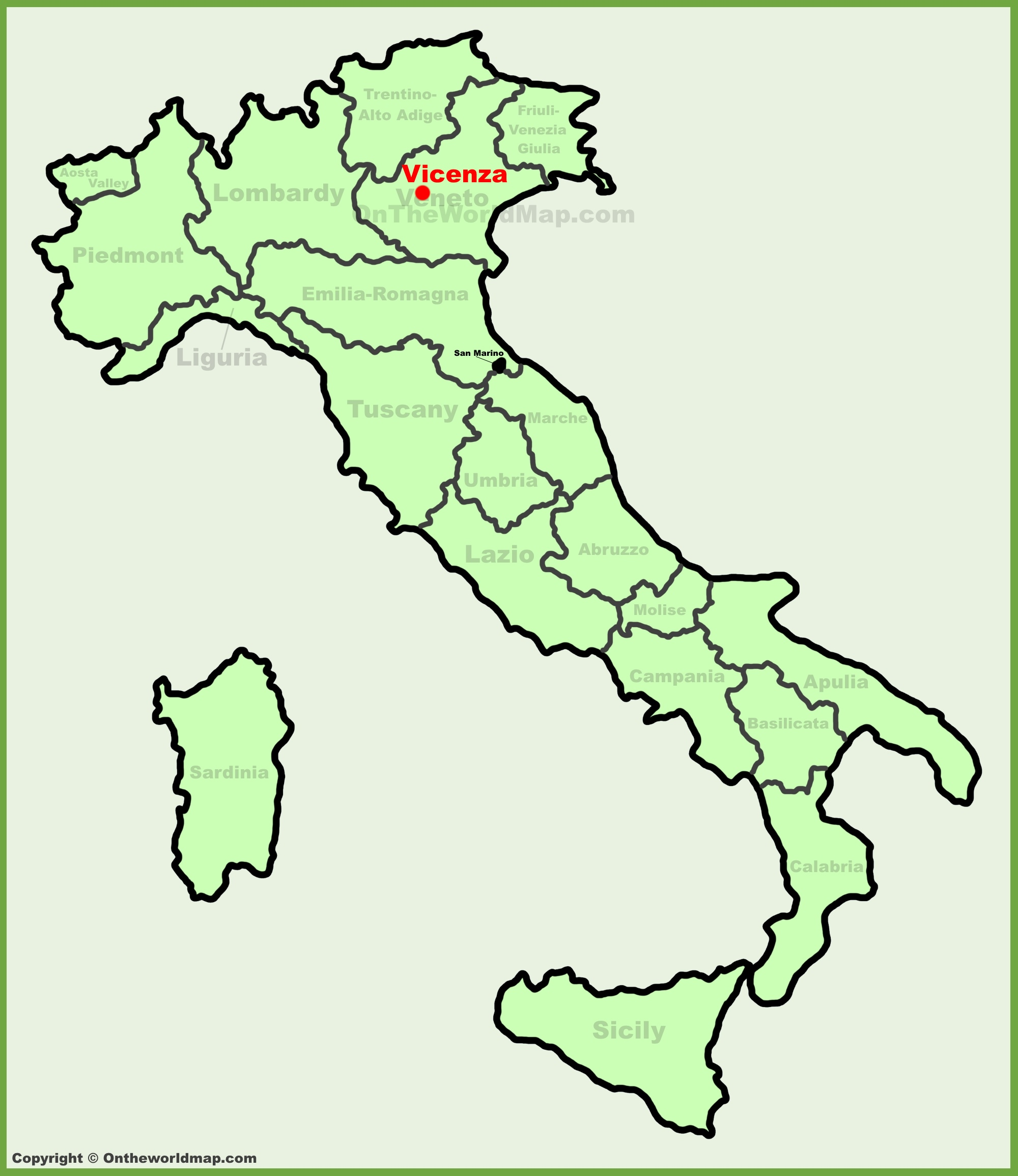 Vicenza location on the Italy map