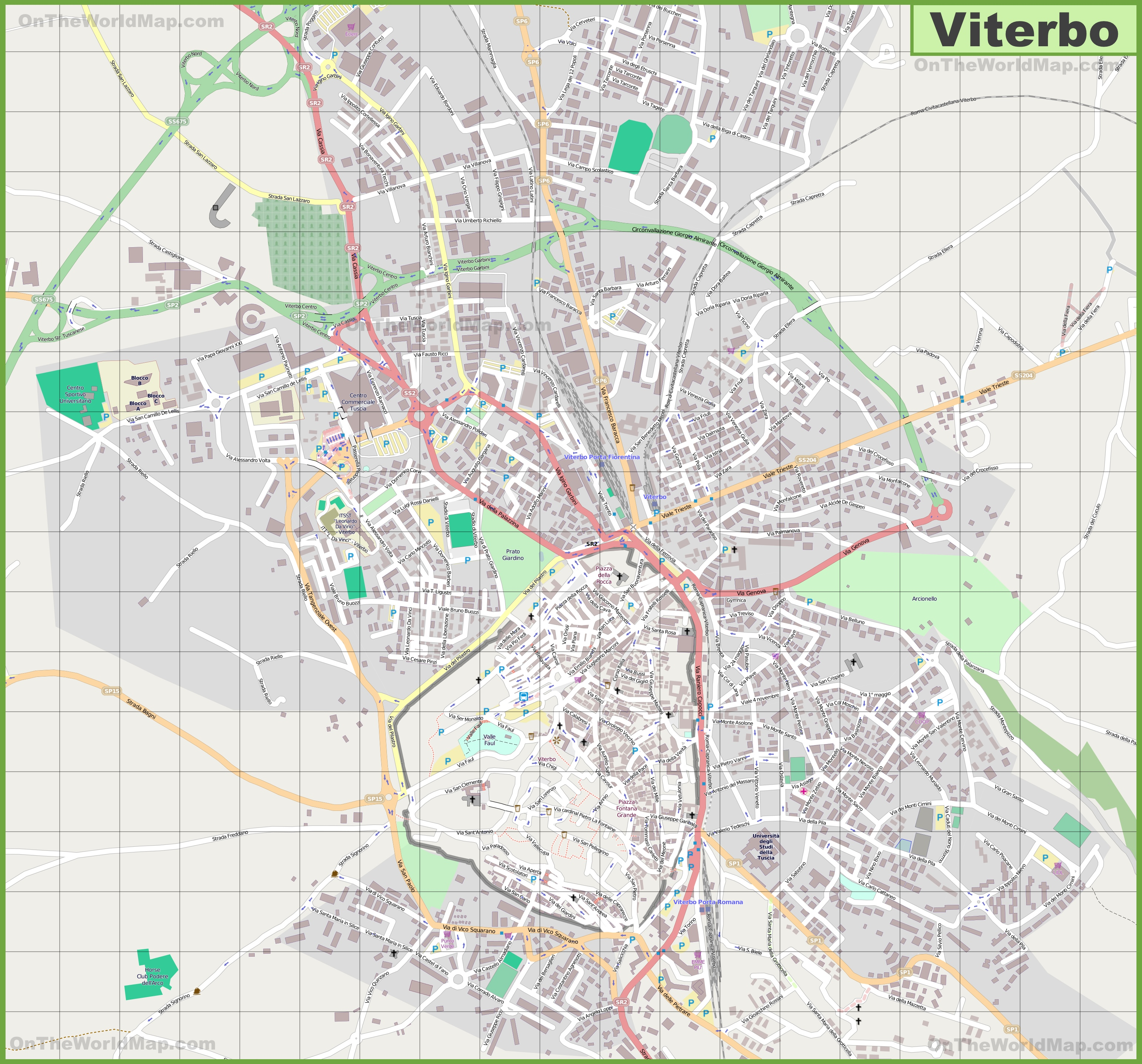 Large detailed map of Viterbo
