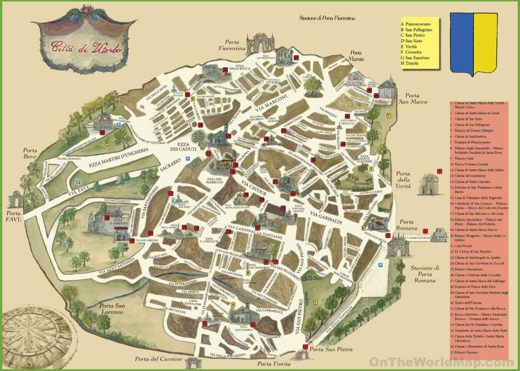 Viterbo Sightseeing Map