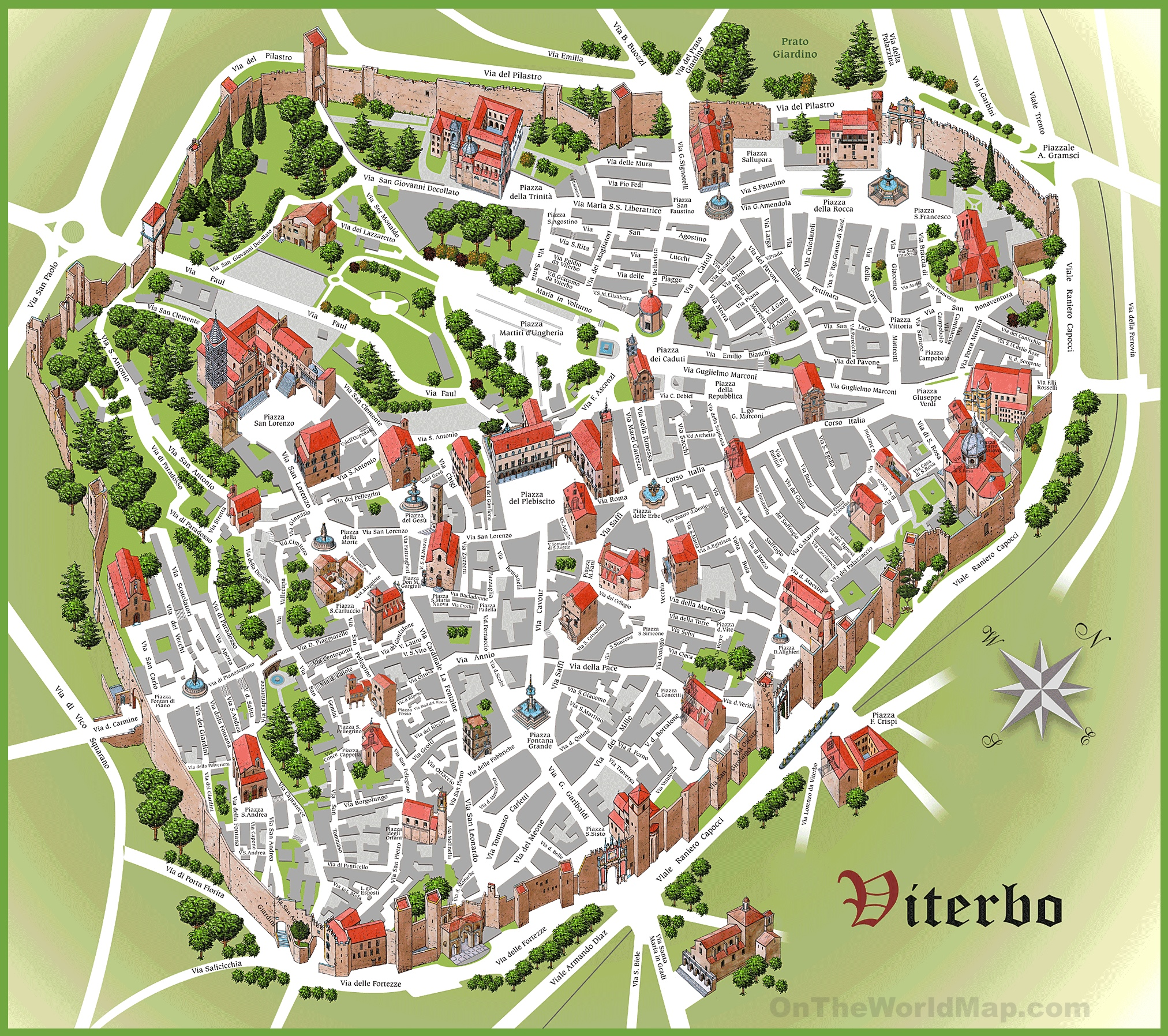 Viterbo tourist map
