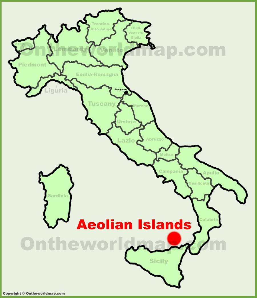 Aeolian Islands location on the Italy map