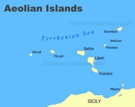 Aeolian Islands map