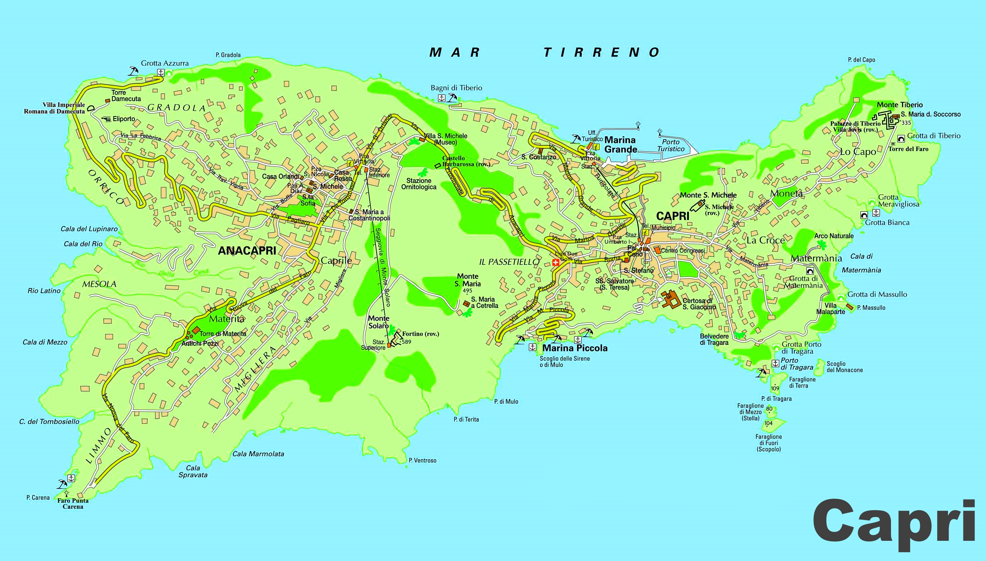 Map Of Italy And Islands.Capri And Anacapri Map
