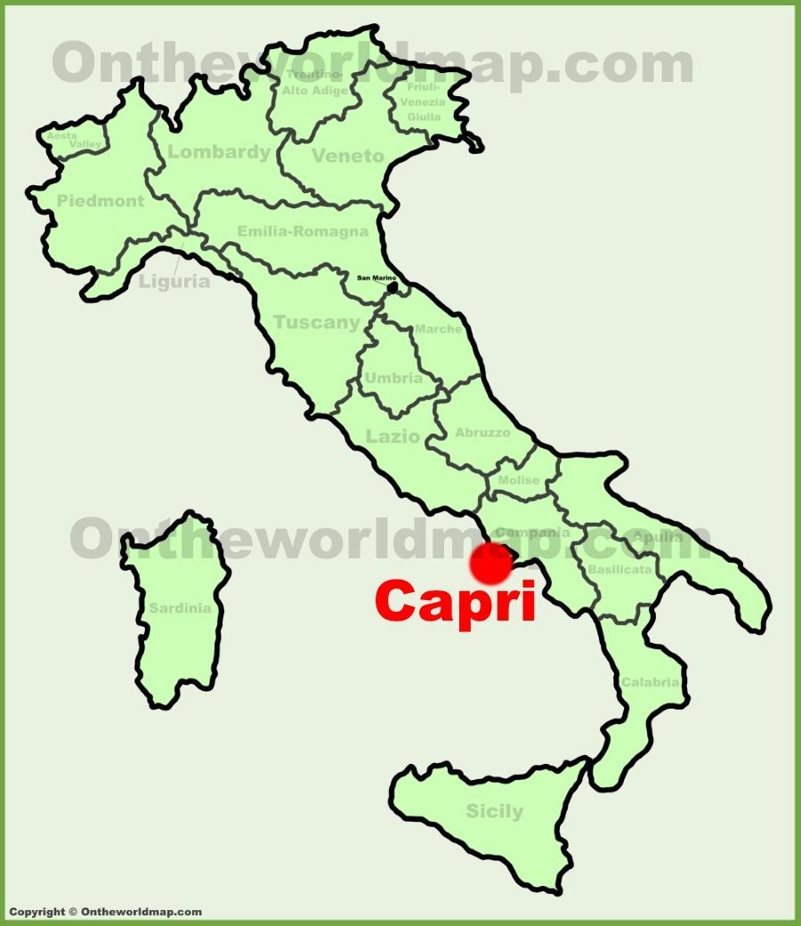 Capri location on the Italy map