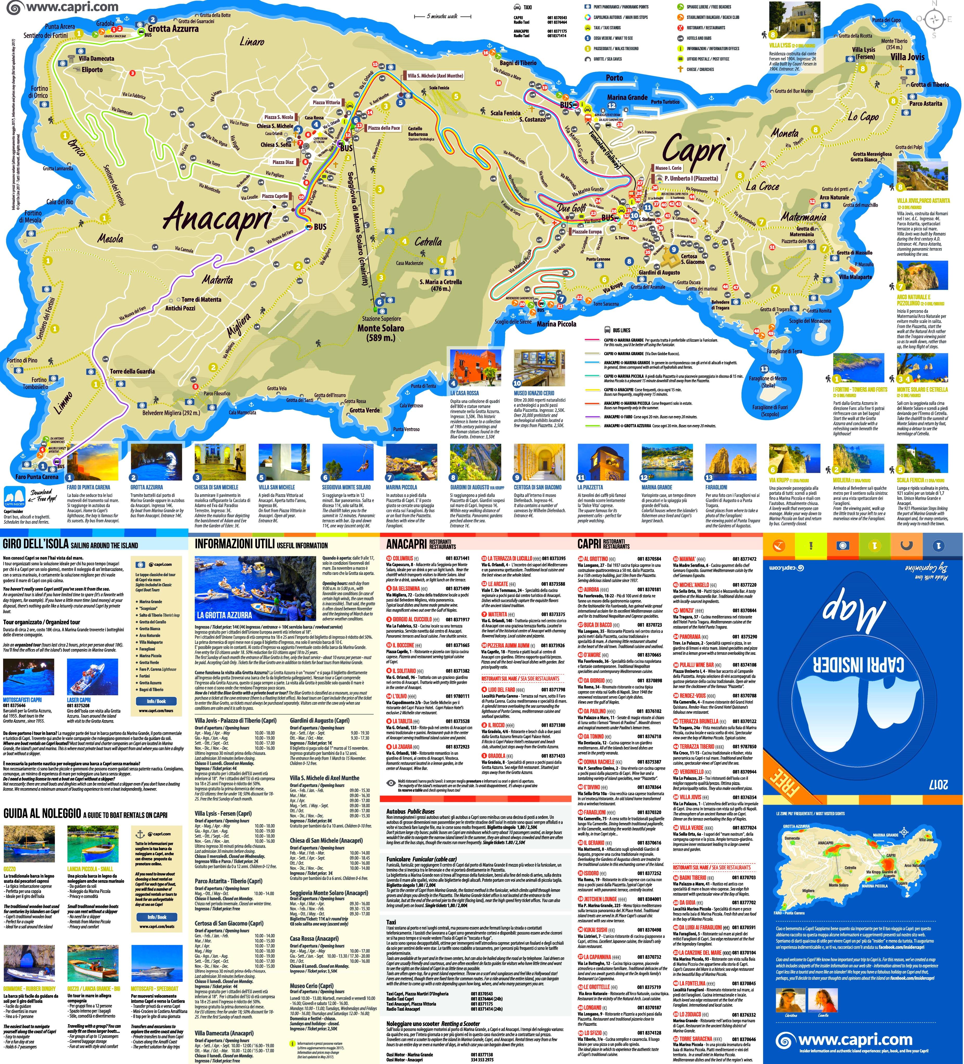 Capri sightseeing map