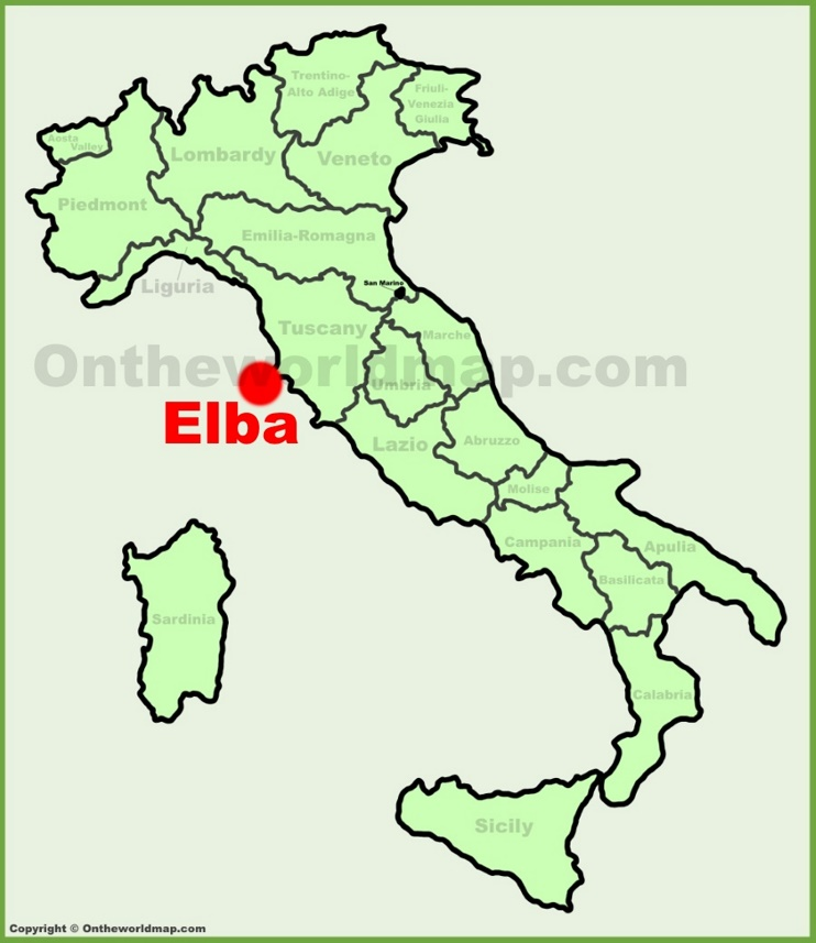 Elba location on the Italy map