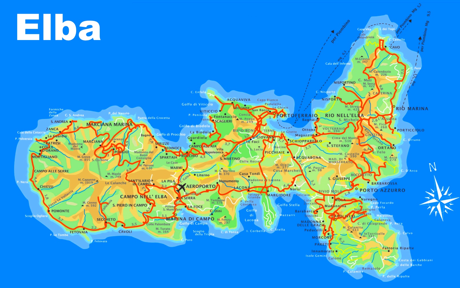 Map Of Italy And Islands.Elba Tourist Map