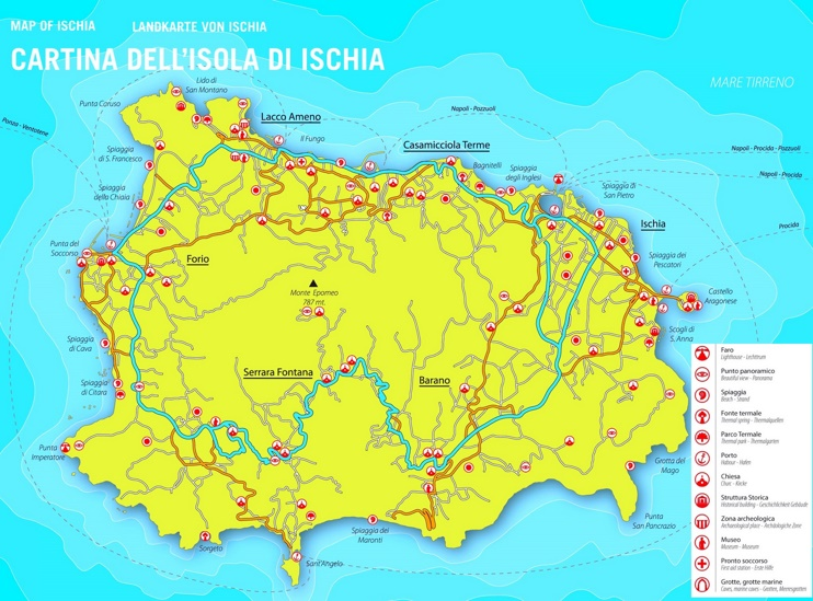 Ischia sightseeing map