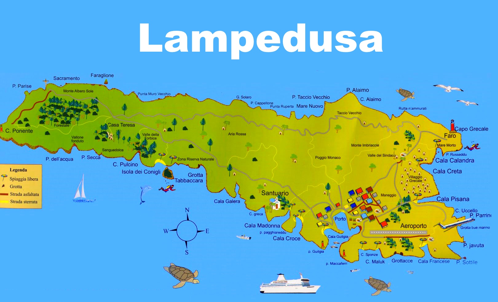 lampedusa tourist map