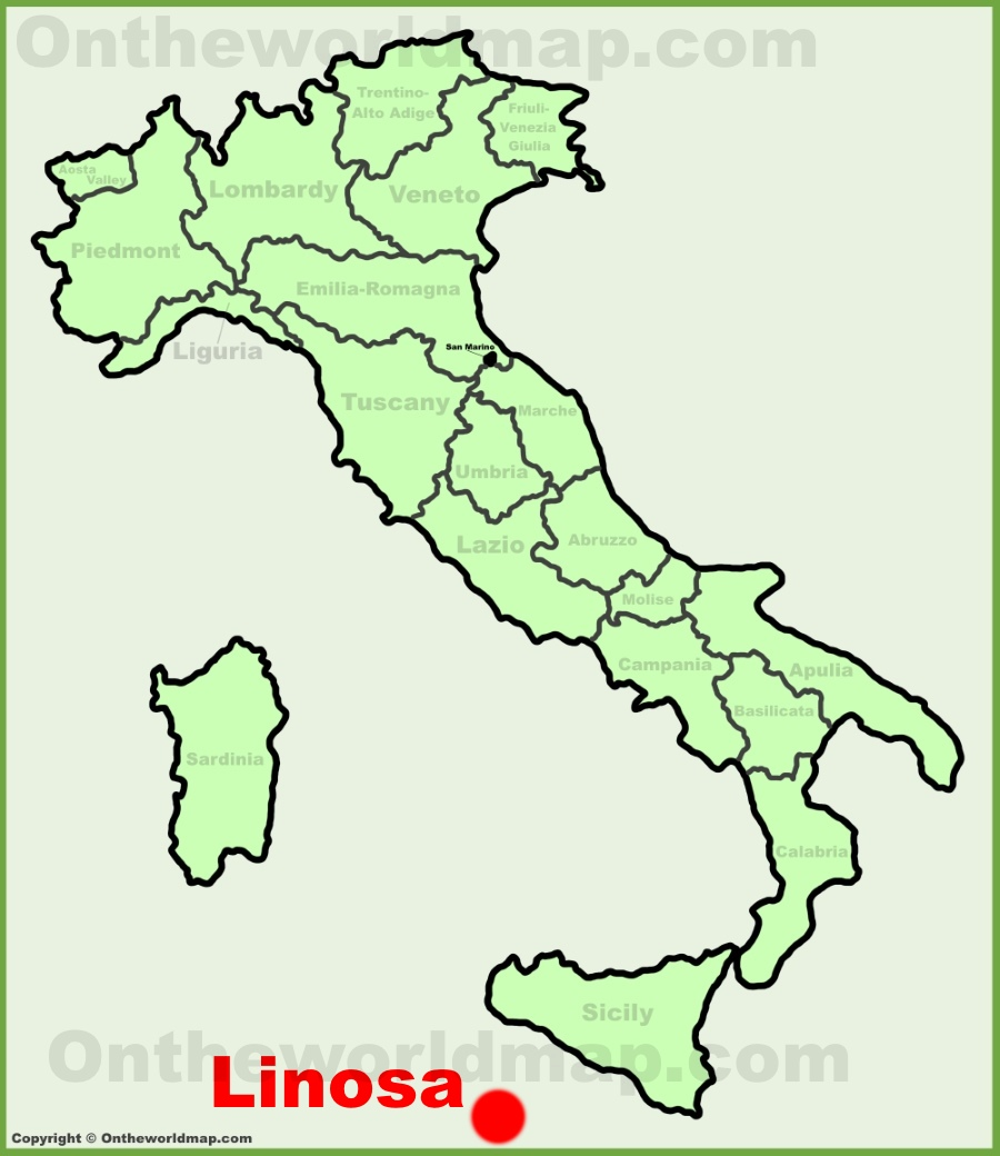 Linosa location on the Italy map