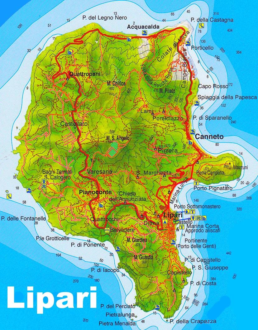 Lipari tourist map