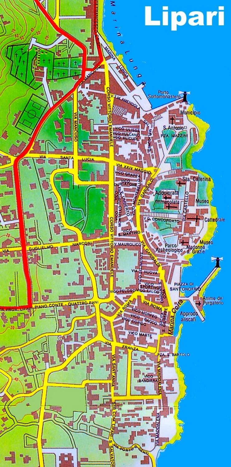 Lipari town map