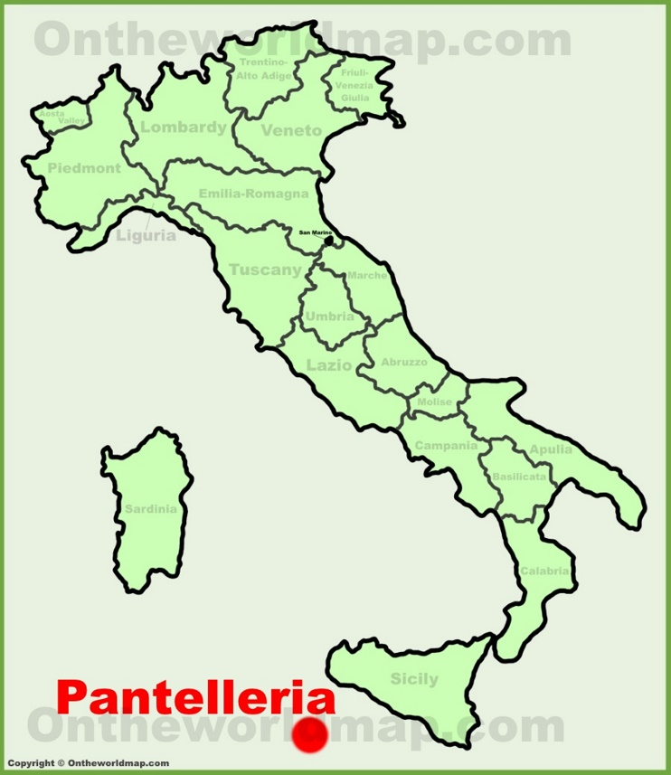 Pantelleria location on the Italy map