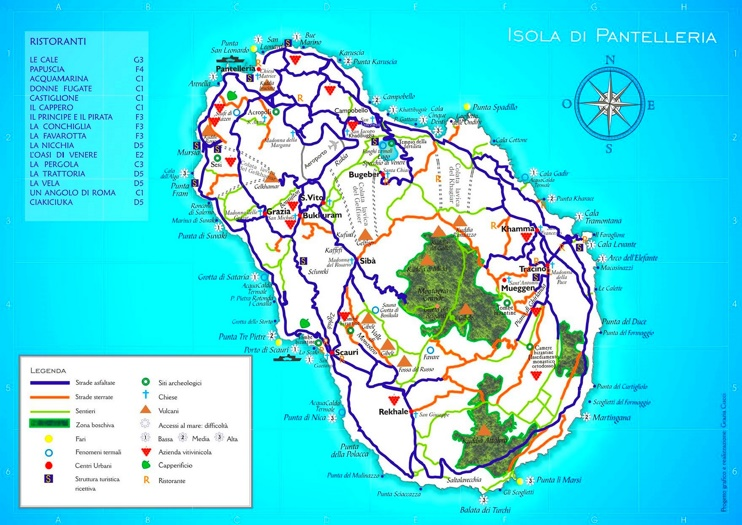 Pantelleria sightseeing map