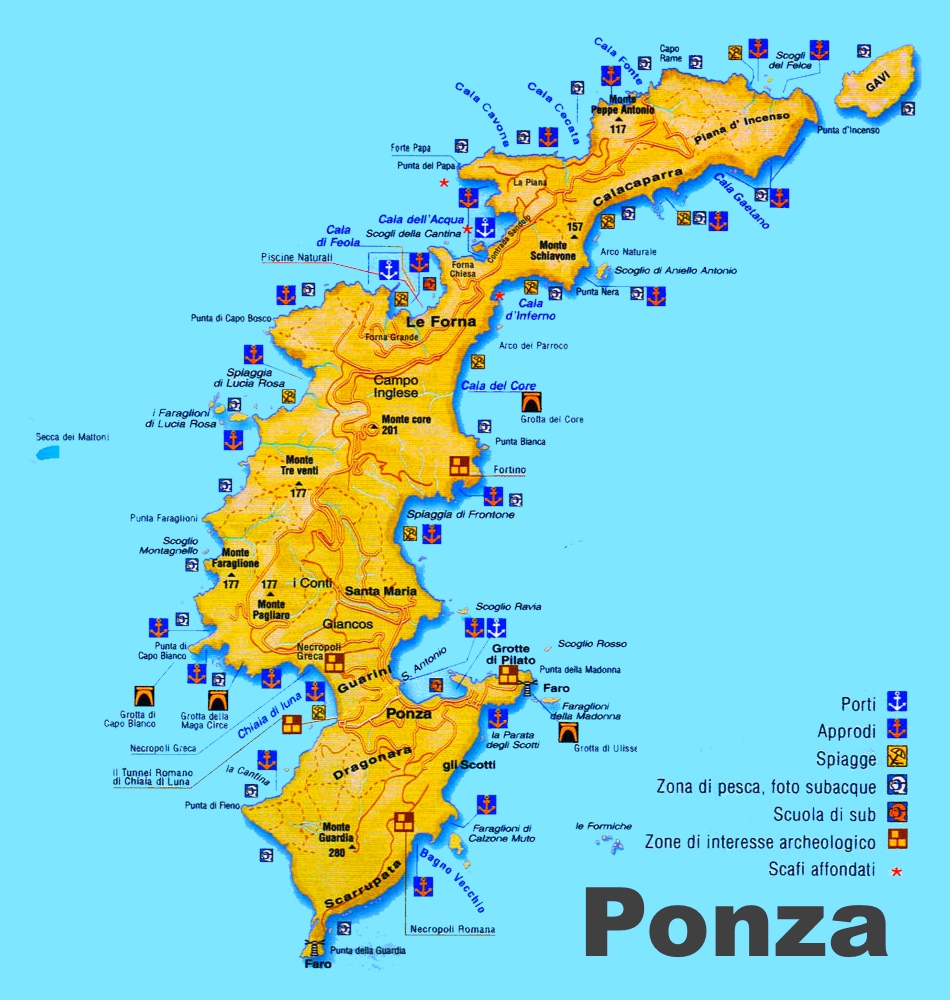 Map Of Italy And Islands.Ponza Sightseeing Map