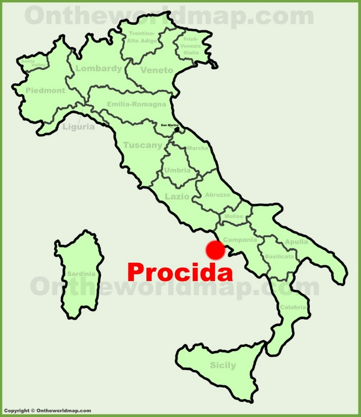 Procida location on the Italy map
