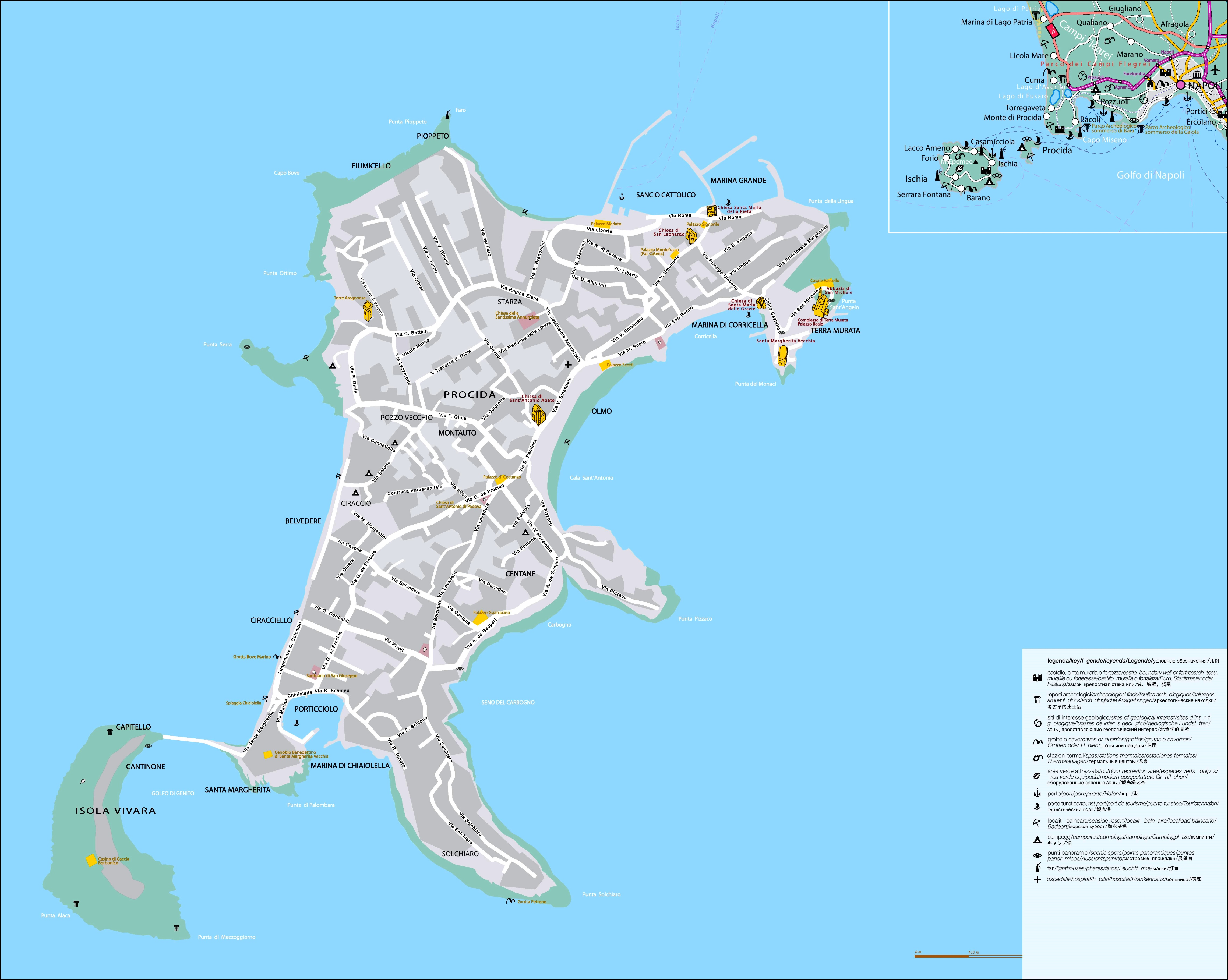 Map Of Italy And Islands.Procida Tourist Map