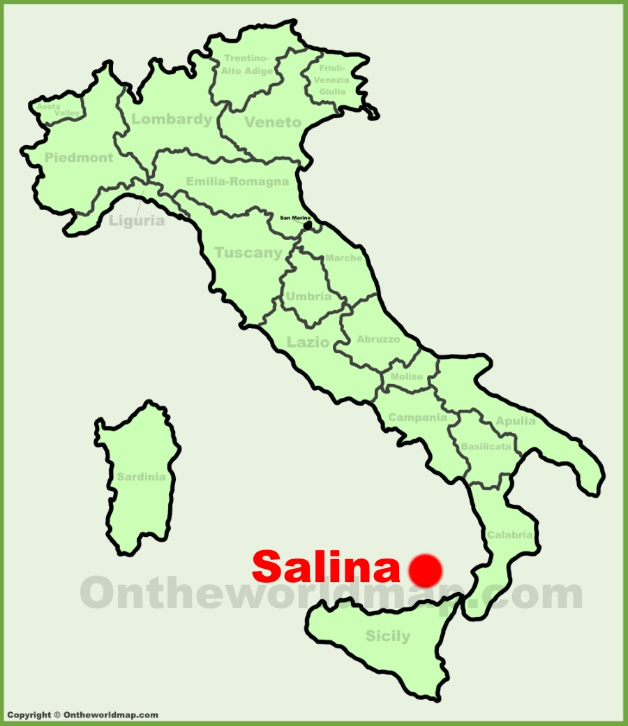Salina location on the Italy map