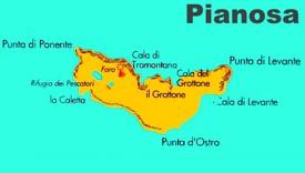 Pianosa island map