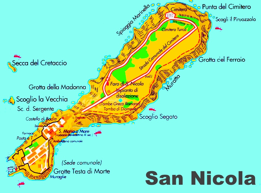 Islands Of Italy Map.San Nicola Island Map