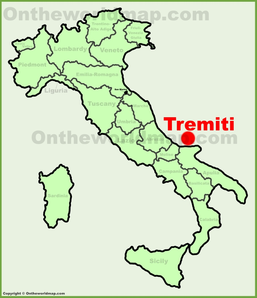 Isole Tremiti location on the Italy map