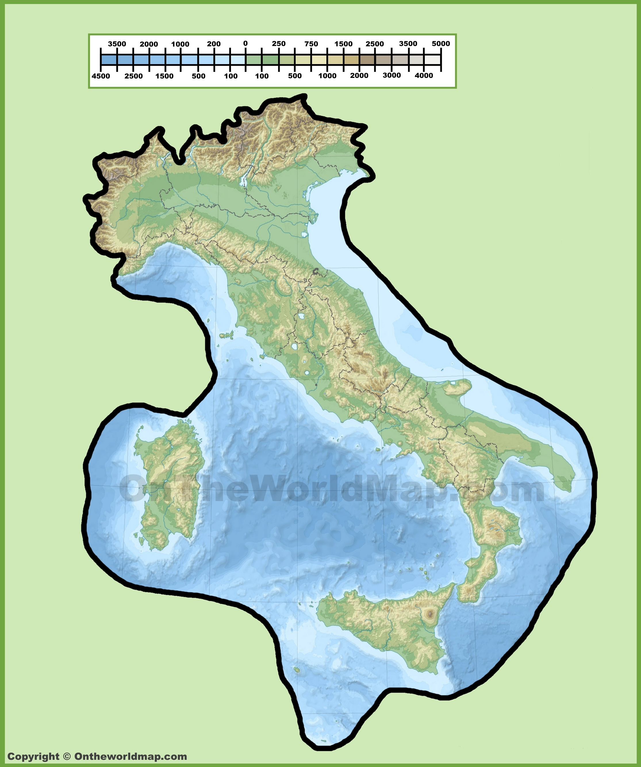 Italy Map 1500.Italy Physical Map
