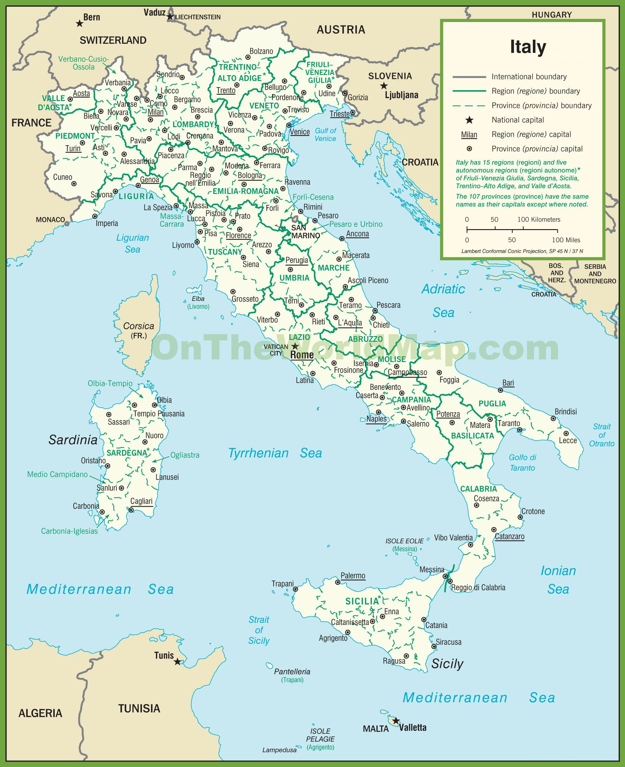 Political Map Of Italy Italy political map Political Map Of Italy