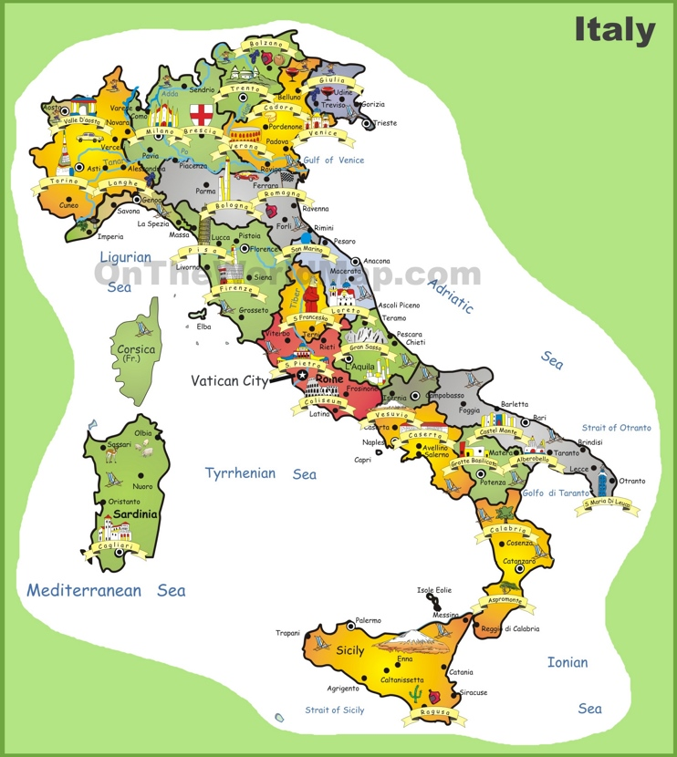 Italy tourist map