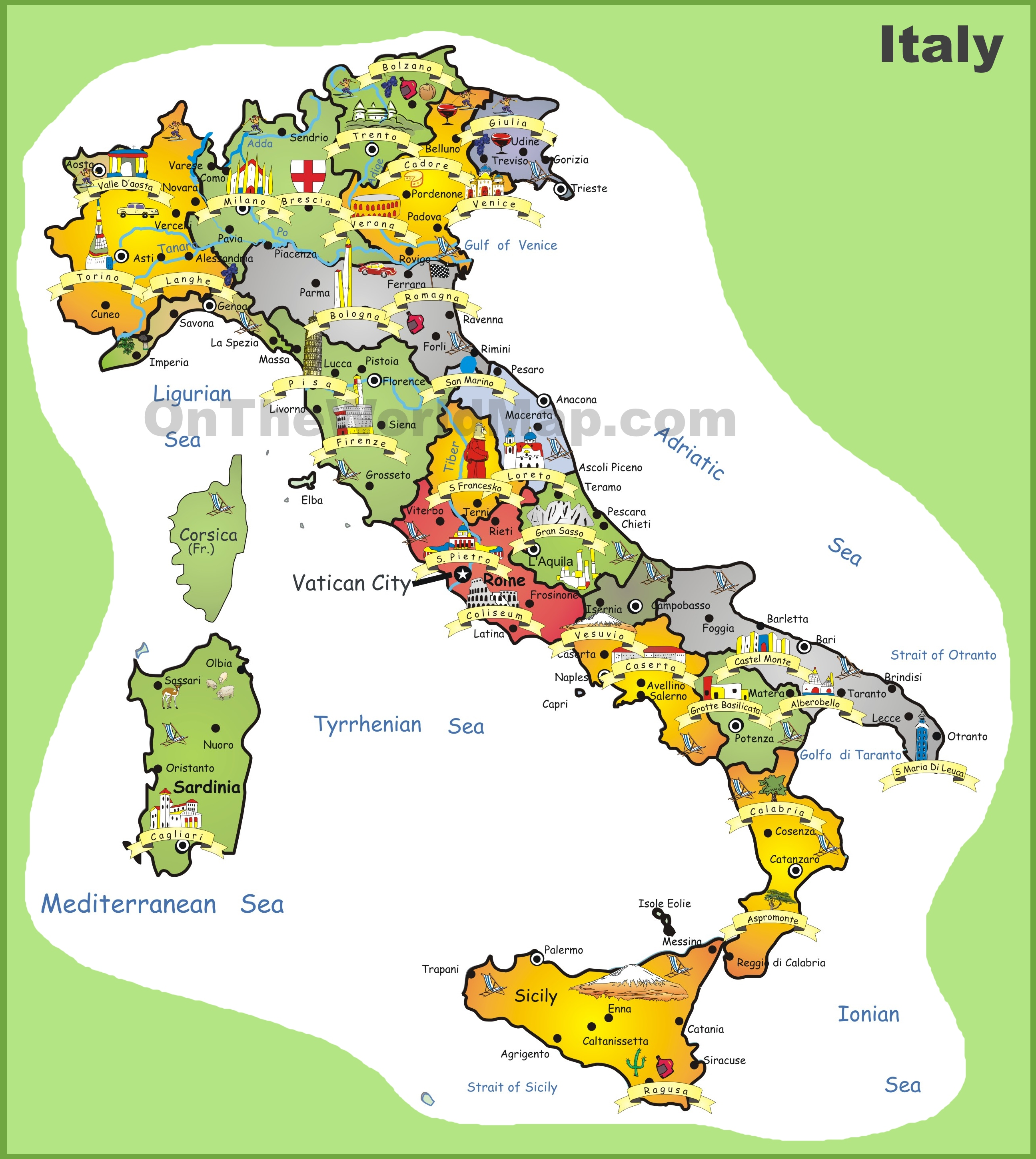 Free Printable Map Of Italy.Italy Tourist Map