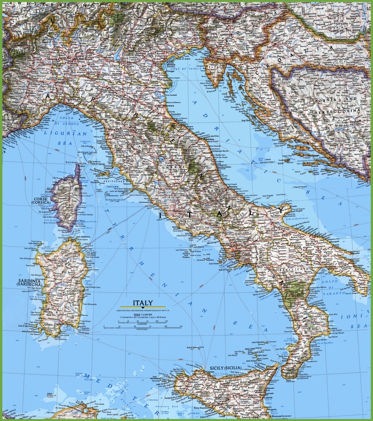 Large detailed map of Italy with cities and towns