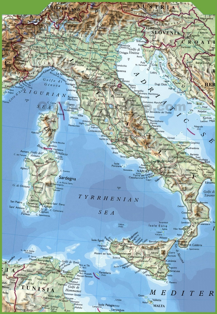 English In Italian: Large Physical Map Of Italy