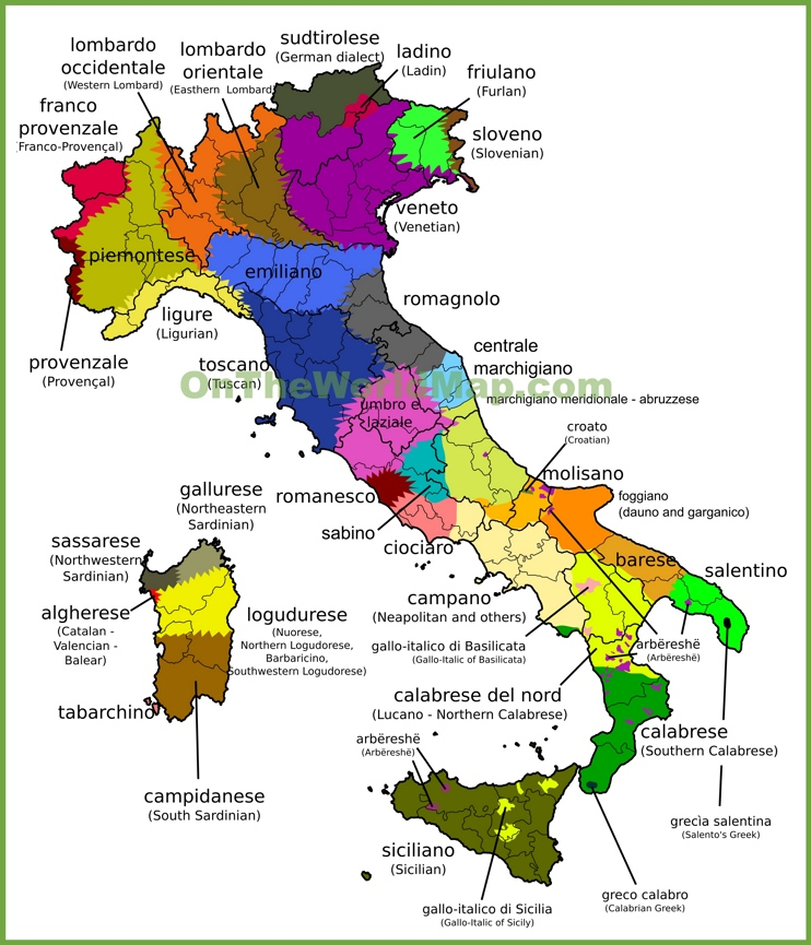 Map of languages in Italy