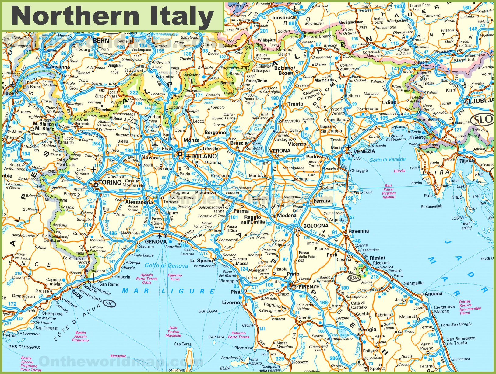 North Of Italy Map.Map Of Northern Italy