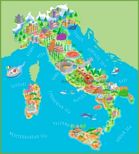 Pictorial travel map of Italy