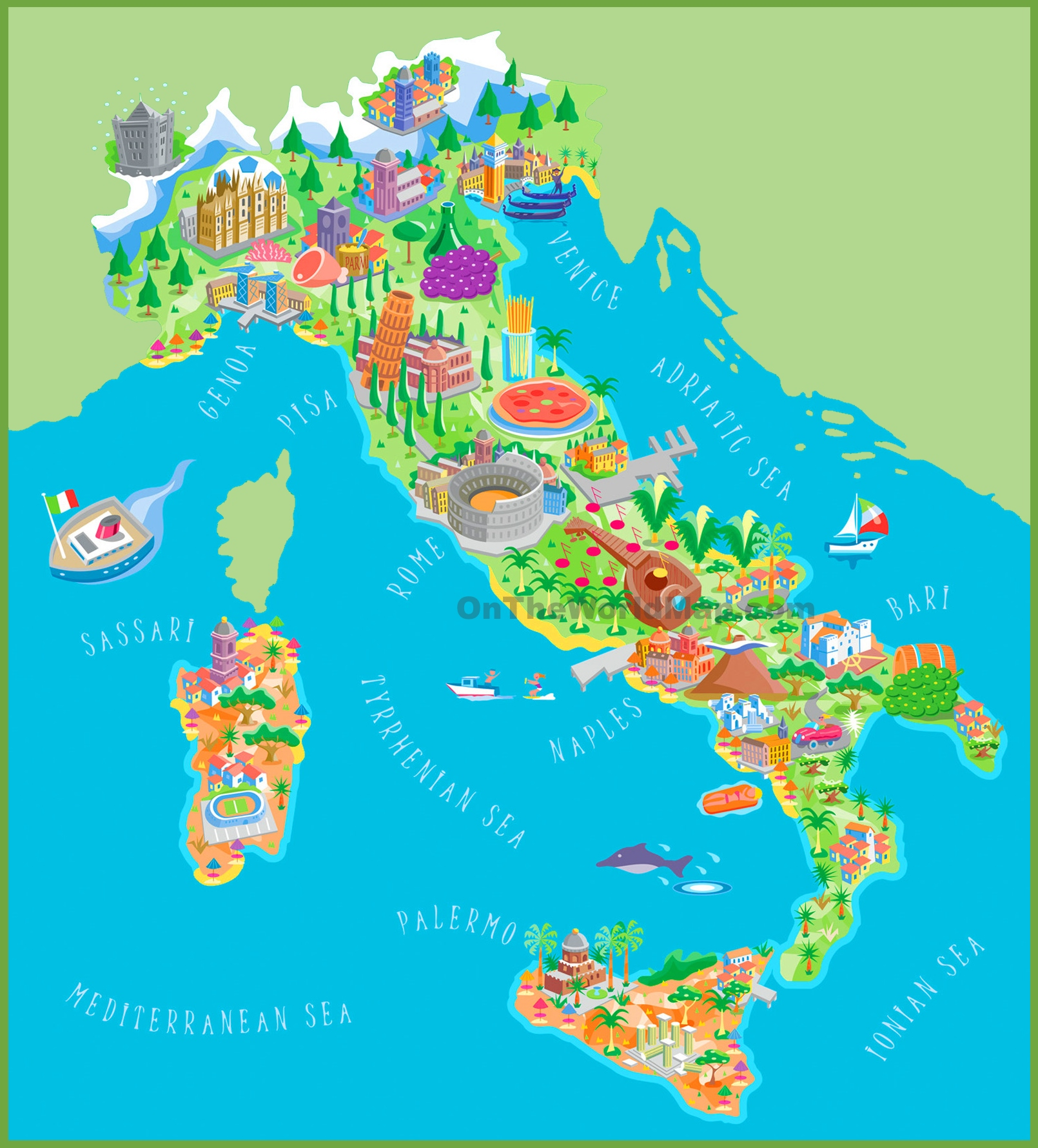 Pictorial Travel Map Of Italy - Map of italy