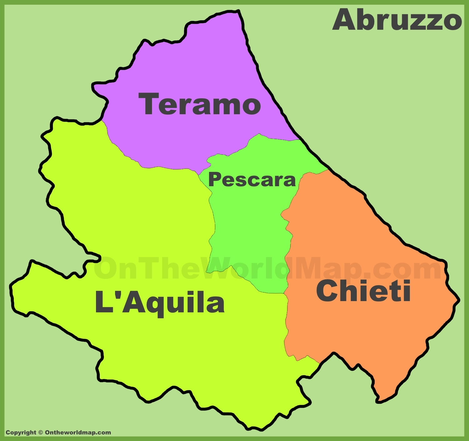Map Of Provinces Of Italy.Abruzzo Provinces Map