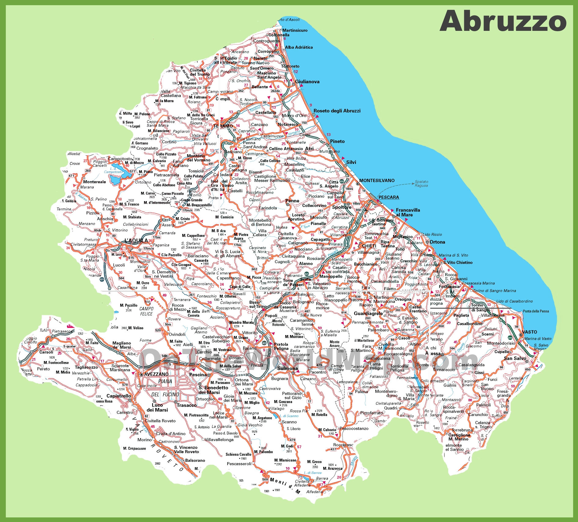 Large detailed map of Abruzzo with cities and towns