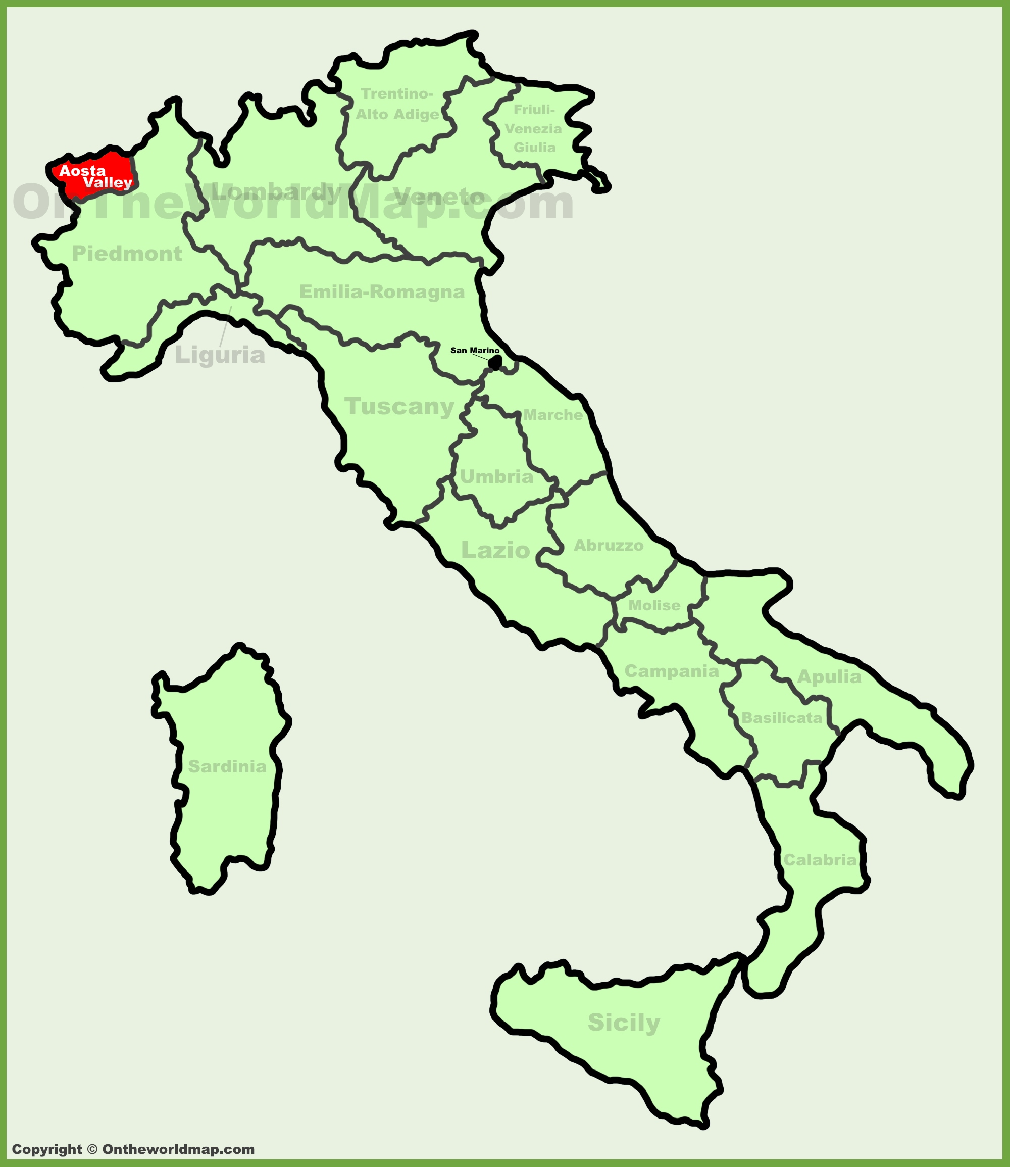 Aosta Valley location on the Italy map