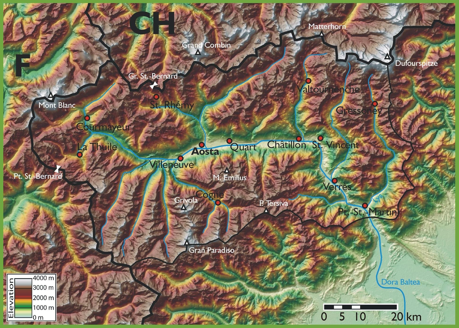 Aosta Valley Maps Italy Maps of Aosta Valley Valle dAosta